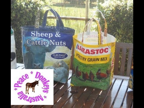 Recycle your old feed bags into a tote or shopping bag - say no to plastic bags.
