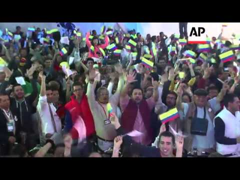 Santos re-elected as Colombian president; speeches by Santos and Zuluaga