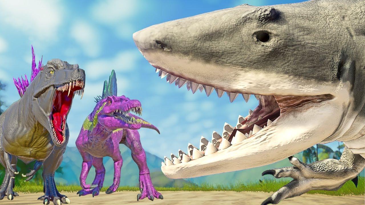 SHARKZILLA Evolution vs GODZILLA & Monster Hybrids SPINO with ULTIMASAURUS Fight!