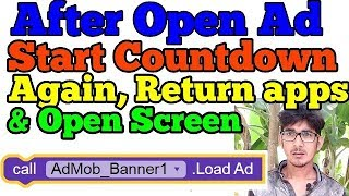 Start countdown timer after Click ads again return apps and start new screen.