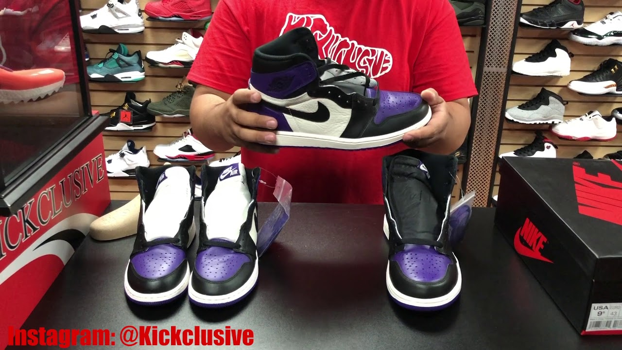 timeless design b7445 8dccf EARLY FIRST LOOK NIKE AIR JORDAN RETRO 1 OG HIGH COURT PURPLE TOE IN HAND  AND ON FOOT REVIEW