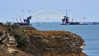 Controversial bridge connecting Russia to Crimea begins to take shape