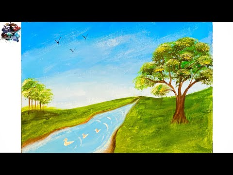 Landscape Painting in Acrylics / easy technique