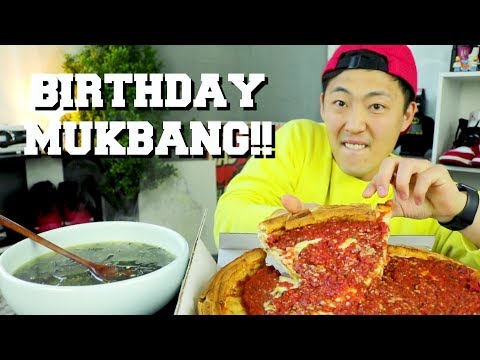 The Best Deep Dish Pizza + Korean Birthday Tradition Seaweed Soup Mukbang| Dongdigity