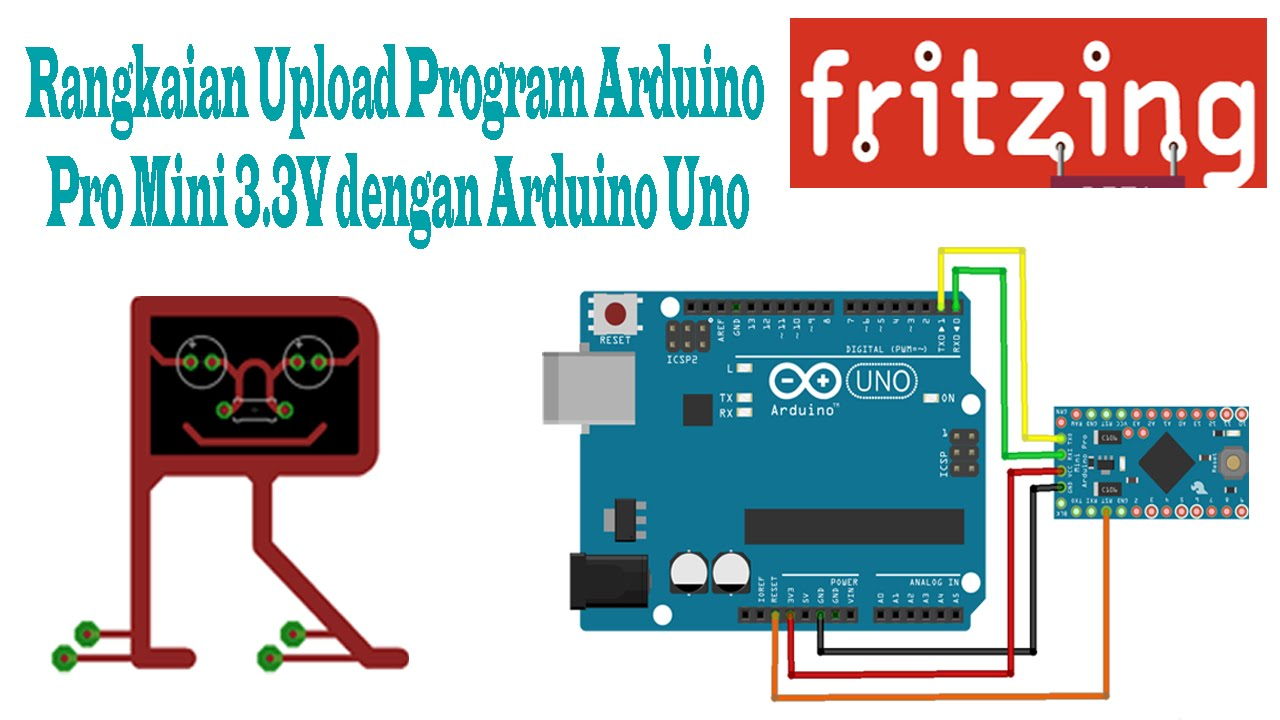 Fritzing rangkaian upload program arduino pro mini v