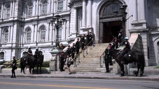 SPVM Cavalry Mounted Police At Montreal City Hall For Jean Doré Funeral 00005