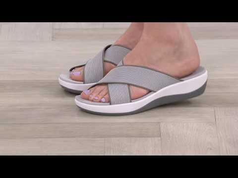 Clarks Cloud Steppers Cross Band Slide Sandals - Arla Elin On QVC