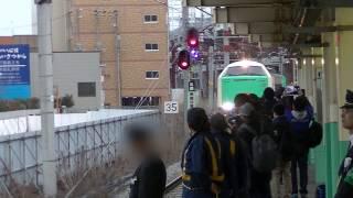 [ラストラン]JR東日本485系3000番台R-28編成 ありがとう485系羽越 新潟駅入線