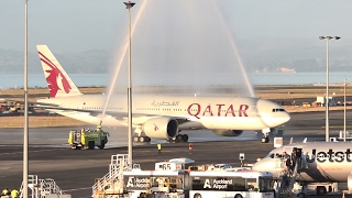 Top 10 Airlines - WORLD'S LONGEST FLIGHT | Qatar Airways 777-200LR | Landing and Water Salute at Auckland Airport