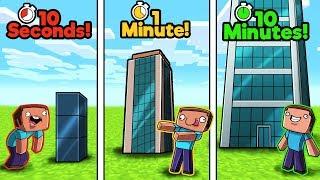 Minecraft - SKYSCRAPER CHALLENGE! (10 Sec vs 1 Min vs 10 Min)