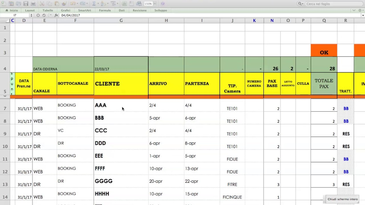 Calendario Prenotazioni Hotel Excel.Prenotazioni Camere Planning Excel