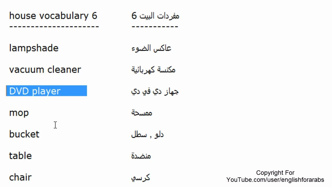 اسماء مفردات المنزل باللغة الانجليزية الجزء 6 Youtube