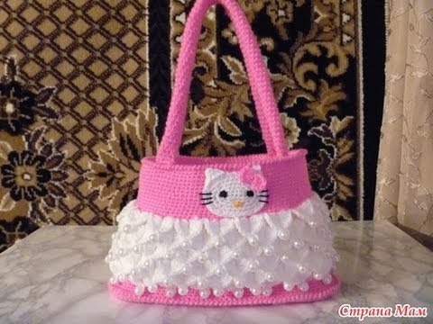 how to crochet hello kitty purse bag free tutorial pattern - YouTube
