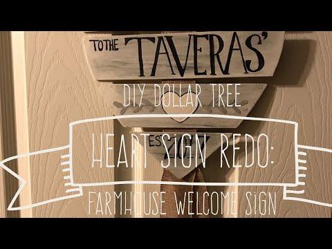 DIY Dollar Tree Heart Sign Redo: Farmhouse Welcome Sign