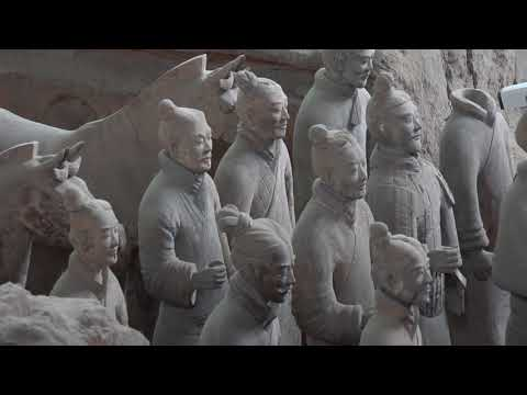 The beauty of China  Qin KING Terra Cotta Warriors scenery photography video background