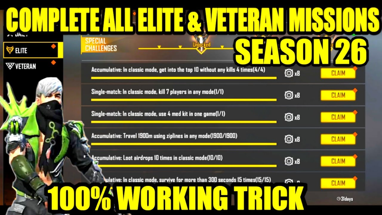 HOW TO COMPLETE ALL THE ELITE PASS MISSION EASILY AND VETERAN OF SEASON 26 ELITE PASS IN FREEFIRE