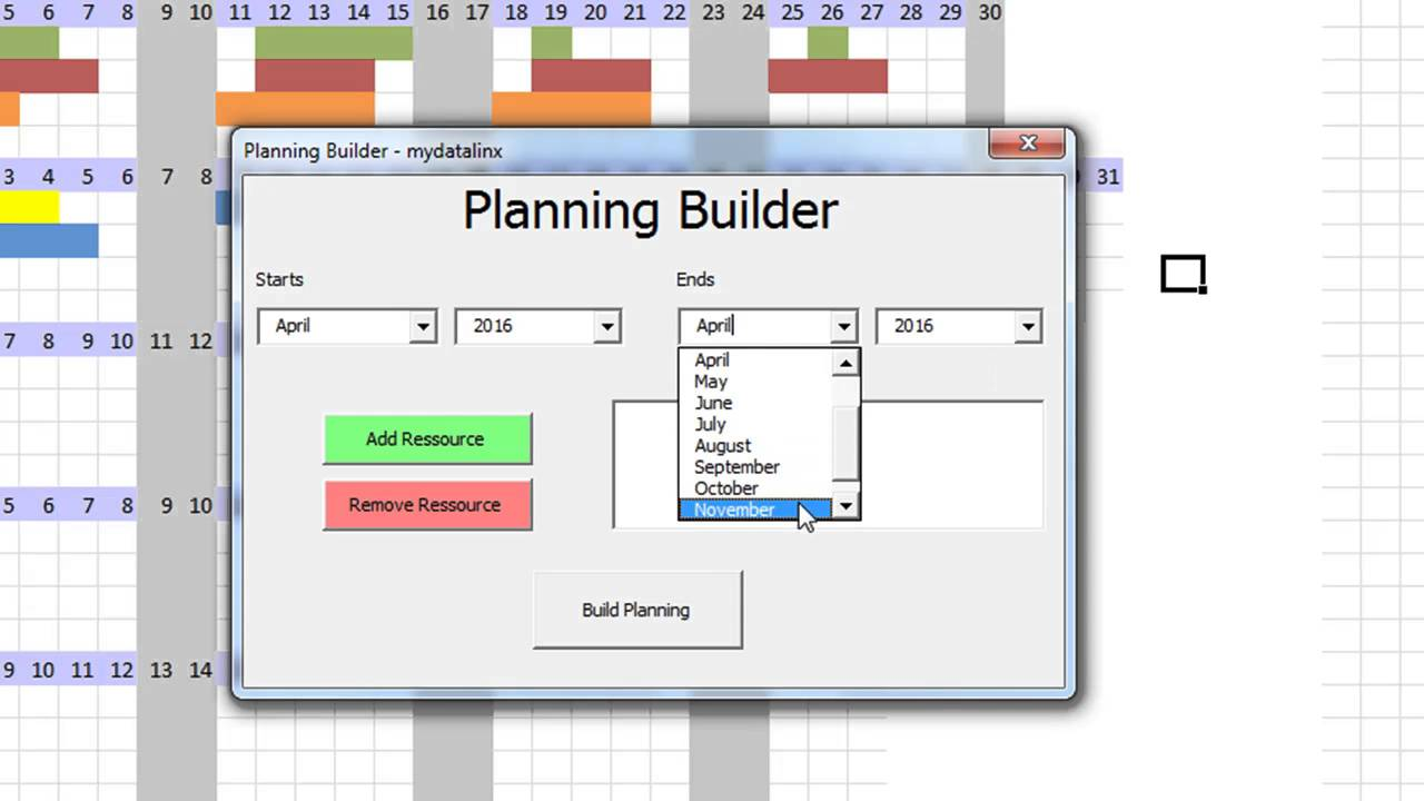 macro ms excel   planning automatique