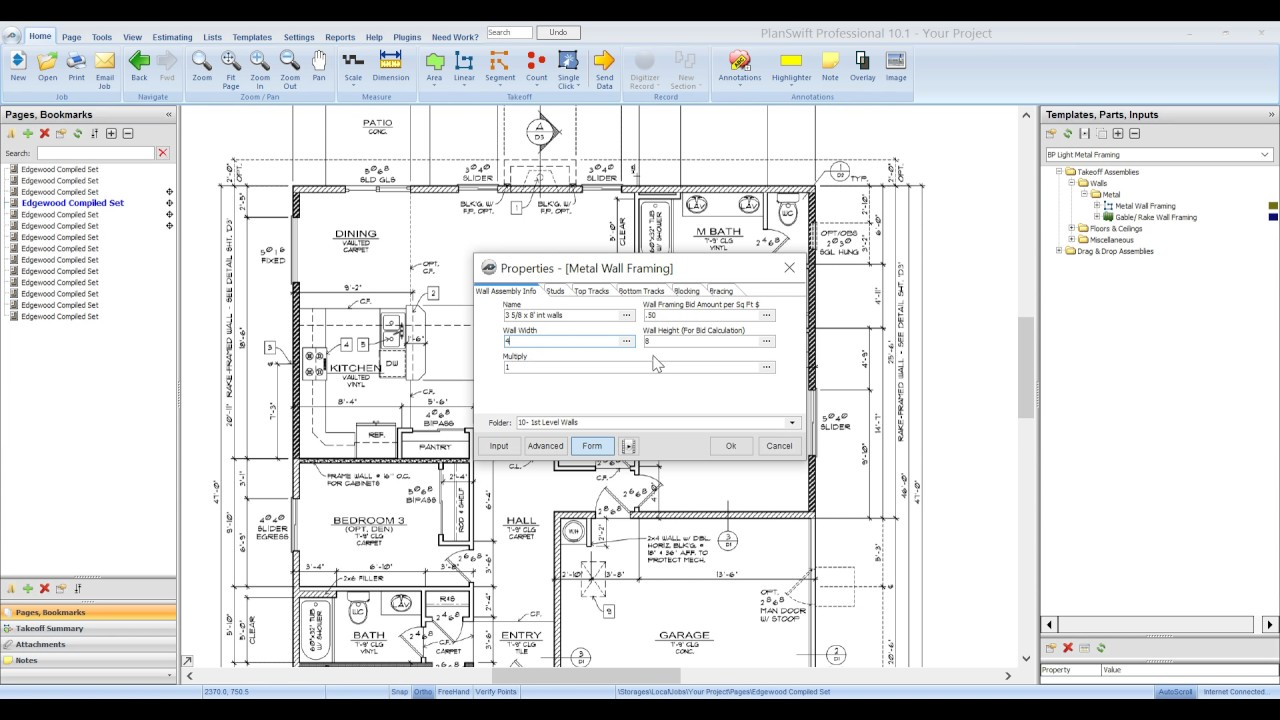 Bid Pro Light Metal Framing for PlanSwift Partitions - YouTube
