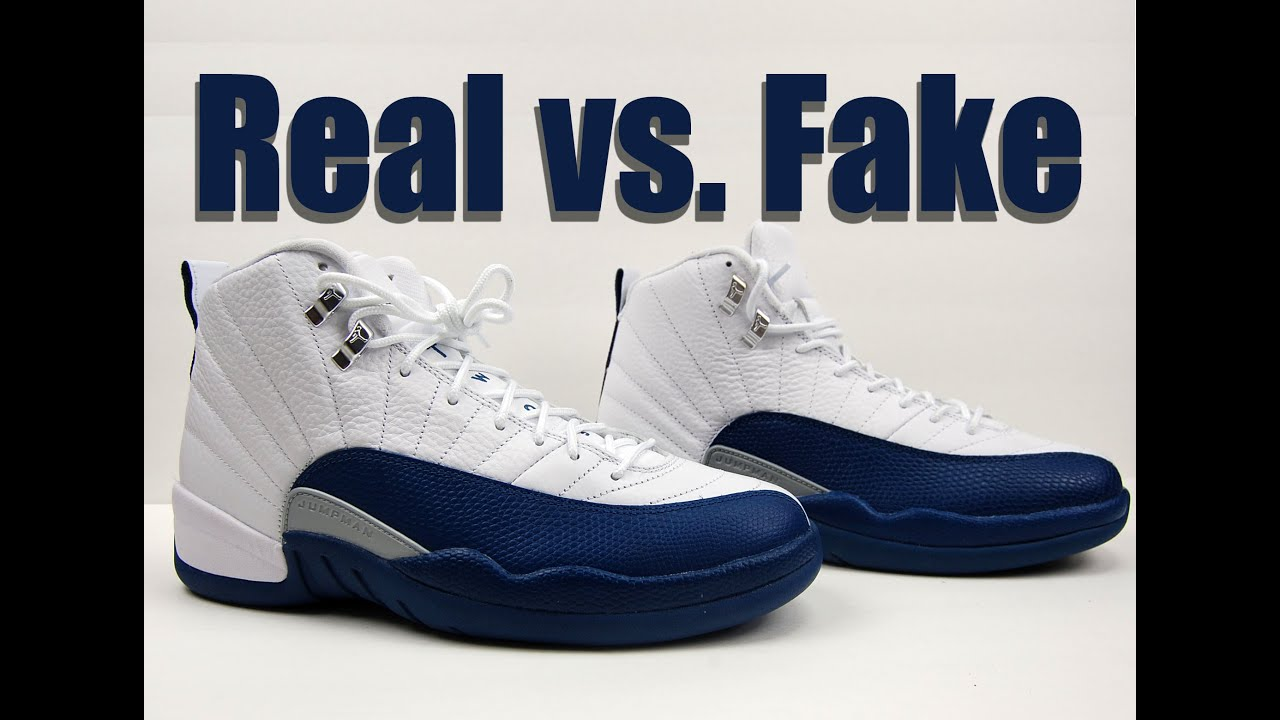 cc5ef9a9f7ee40 Real vs. Fake Air Jordan 12 French Blue 2016 Legit Check - YouTube