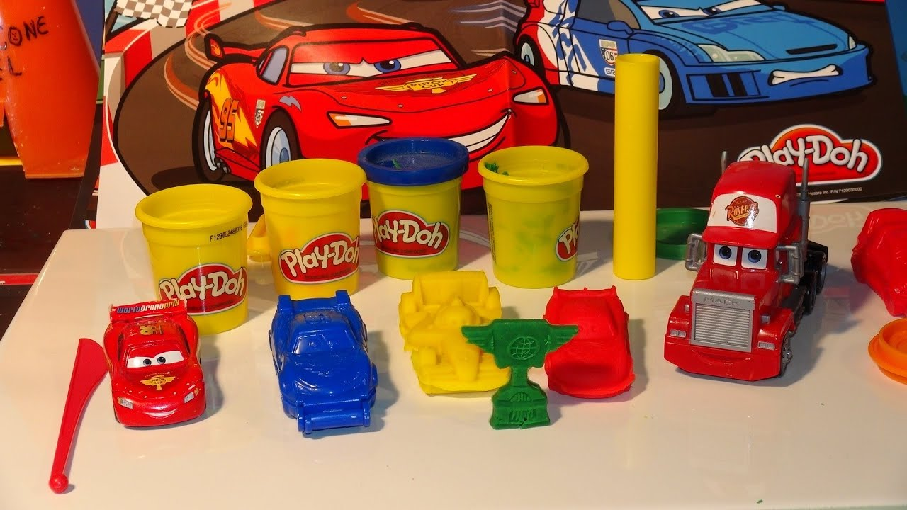 Play Doh Pixar Cars Lightning McQueen make Lightning from Play Doh with molds - YouTube & Play Doh Pixar Cars Lightning McQueen make Lightning from Play Doh ...