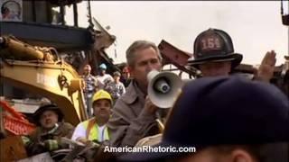 شاهد..«بوش» فوق أنقاض برجي التجارة لأول مرة بعد هجمات 11 سبتمبر