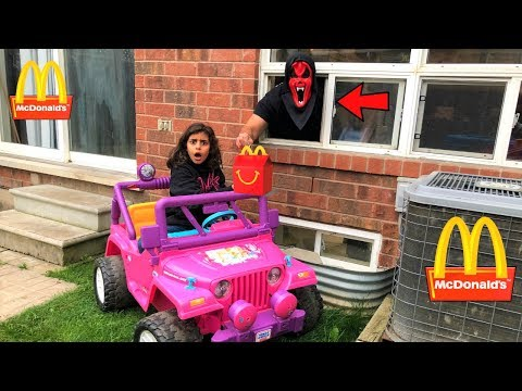 McDonalds Drive Thru Happy Meal Halloween Prank!! Power Wheels Ride On Car For Kids