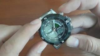 Сталеві чоловічі годинники Weide 1104 Aqua Steel з підсвічуванням. Налаштування годинника