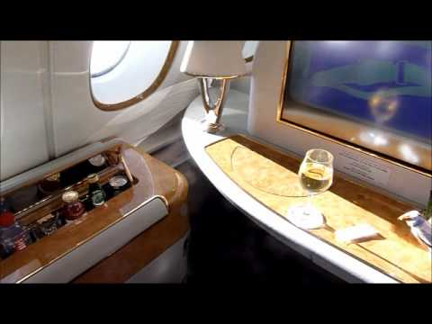 Emirates Airlines A380 first class suite, shower-room and bar, in HD.wmv