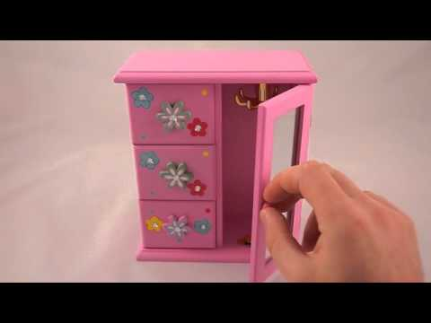 Pink girls jewellery box toy, trinket Mirror great gift idea