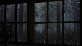 Rain On Window with Thunder Sounds - Rain in Forest at Night - 10 Hours