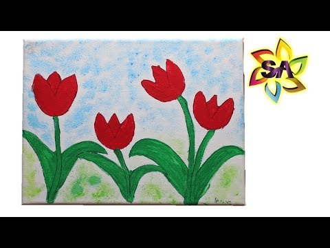 Painting tips for Kids using Potato Tulip stamps | Mothers day craft idea for Kids
