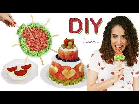 DIY COMIDINHAS FOFAS DE MELANCIA: bolo da fruta, flocos de arroz e gelatina | Paula Stephânia