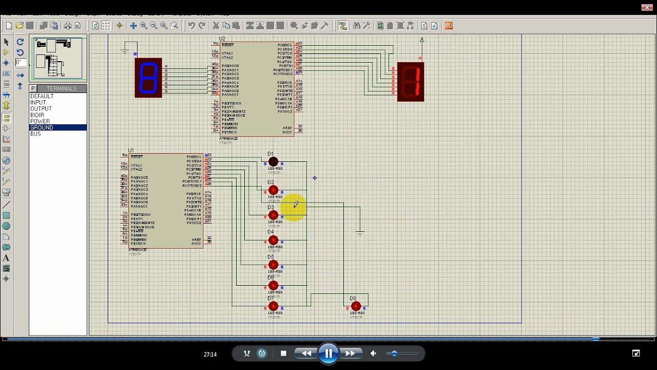 Simulasi LED Array dan 7Segment menggunakan microcontroler ATMEGA32 dengan  Proteus