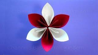 Origami Blume basteln mit Kindern - Einfache Bastelideen. Blumen basteln mit Papier: