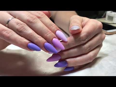 Ногти матовые сиреневые