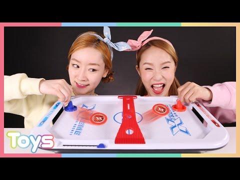 Carrie and Ellie Extreme air hockey showdown play toys | CarrieAndToys