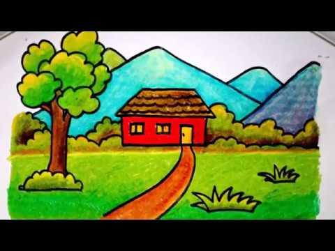Cara Menggambar Rumah Dengan Krayon Untuk Anak Sd Yang Mudah Versi Lambat Youtube