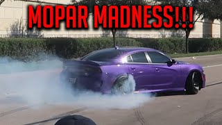 MOPAR MADNESS 2!!! MUSCLE CARS ACCELERATING AND DRIFTING LEAVING CARS AND COFFEE HOUSTON!!!