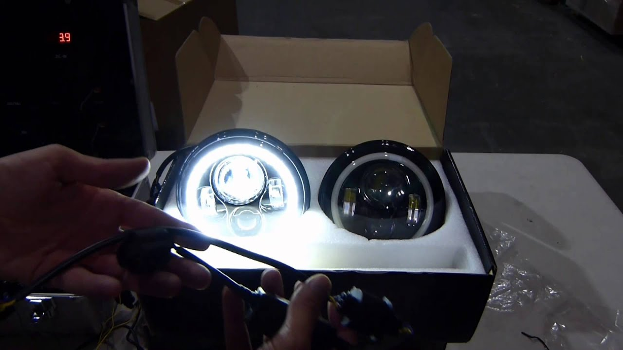 GENSSI 7 Inch Round LED Headlight with Halo Angle Eyes H6024  YouTube