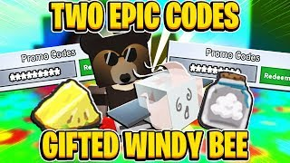TWO EPIC CODES And GIFED WINDY BEE In Roblox Bee Swarm Simulator