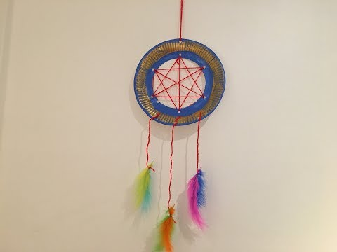 dream catcher making from paper plate
