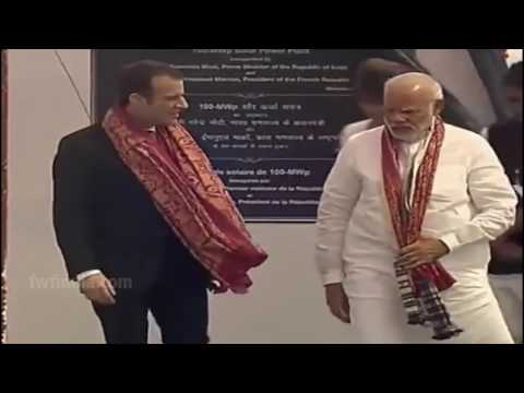 PM Narendra Modi and France President Macron inaugurated 100 MW Solar Plant in Mirjapur, UP