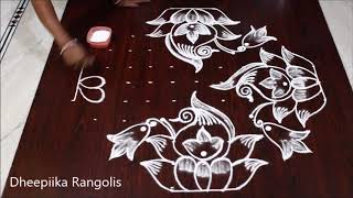 Sankranthi muggulu 2019 lotus rangoli with 11x3 dots * pongal kolams * latest rangoli designs