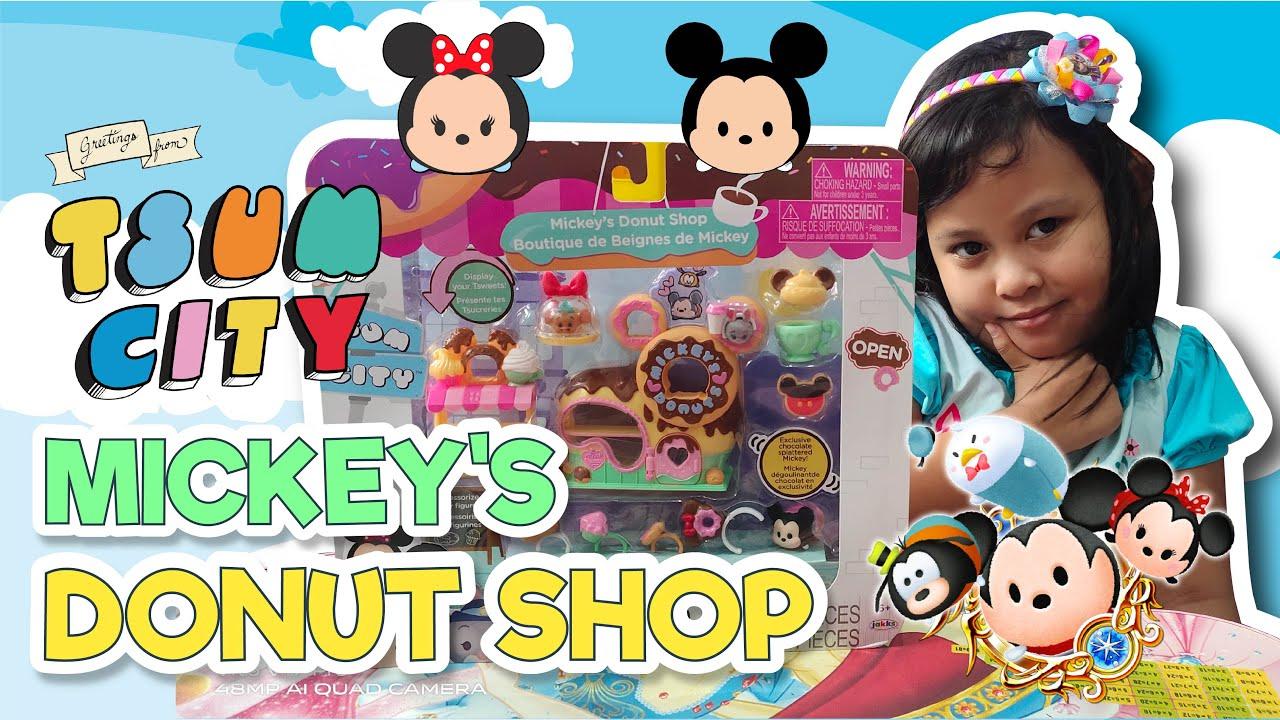 unboxing tsum city mickey's donut shop   mainan diskon 70%   yugi the reviewer
