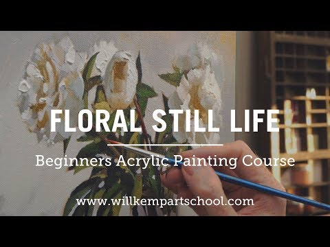 New Floral Still Life Acrylic Painting Course For Beginners