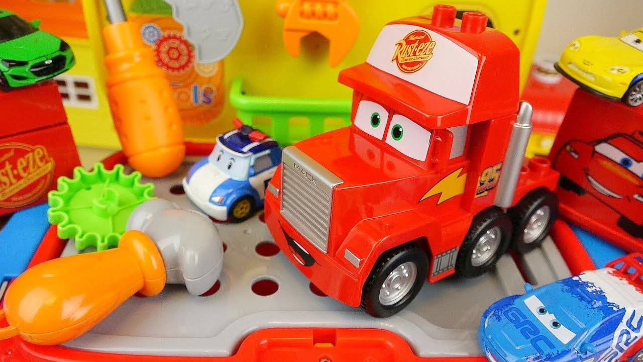 Cars truck and Poli car toys tool station play | Doovi