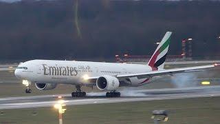 ✈Boeing 777-300ER Emirates beautiful landing at Düsseldorf Airport