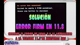 Solución de errores 11.8 Luma Failed to Apply FIRM patches
