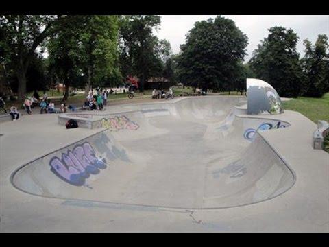 Skateboarding at Victoria park skatepark