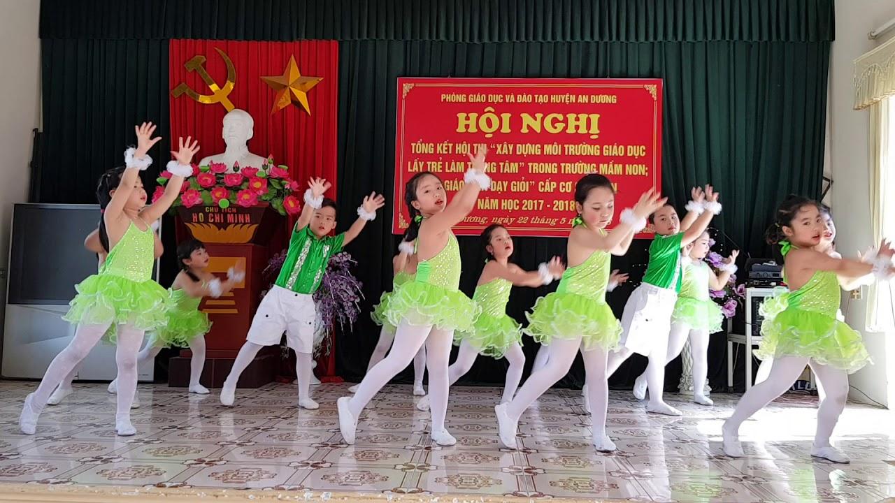 Bài múa mưa hè do các cháu lớp 5 tuổi Trường mầm non An Đồng I biểu diễn